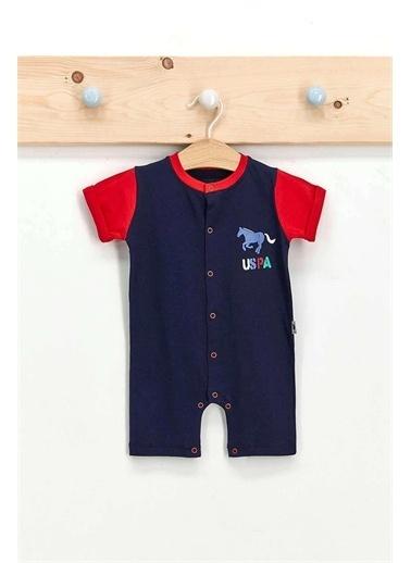 U.S. Polo Assn. Lisanslı Mat Indigo Erkek Bebek Kısa Kol Tulum Lacivert